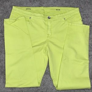 ba38e0636e6c JCPenney JCP Highlighter Yellow Skinny Jeans